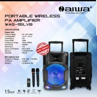 Speaker Portable Wireless AiWA WAS 115LVB USB BLUETOOTH Radio FM SD CARD Meeting Wirelles 15 Inch