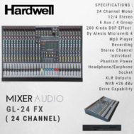 Mixer HARDWELL GL 24 FX ORIGINAL 24 Channel Garansi 1 Tahun
