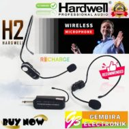 Mic Wireless Hardwell Dual Headset H2 Microphone Recharge