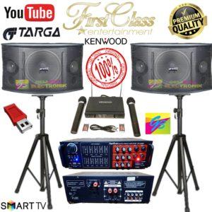 """Paket karaoke karaoke speaker 10 inch TARGA Dan ampli FIRSTCLASS KELENGKAPAN: 1 set Speaker Targa 10""""inchi (sepasang /2pcs) 1 pcs Power Mixer/Equalizer Firstclass fc a387 (Bluetooth, USB ) 1 Set bracket tembok /gantung  1 Set Mic wireless kenwood FREE Kabel Speaker 10 meter SIAP PAKAI TIDAK PERLU SETTING APAPUN LAGI TINGGAL COLOK AJA BARANG READY !!! Ready Stock…Langsung Order aja yah gan… Kami Supplier Langsung, Bukan Resseller dan Dropshipper… Kapok Belanja Online ?? Cuma di GEMBIRA ELECTRONIK kamu dapet garansi barang real pic, no tipu tipu Semua Produk Kami Bergaransi 1 Tahun ( S&K Berlaku ) di hari kerja sampai jam 4 sore dikirim di hari yang sama… Siap Antar Via GOJEK/GRAB utk wilayah Jabodetabek dan sekitarnya."""